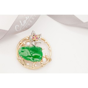 18KYG Jade & Pearl (Moonlight over the Lotus Pond)Pendant &Brooch