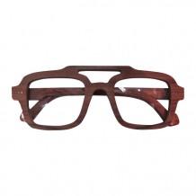 木制眼鏡(深啡四方形白色鏡片頭頂有空)