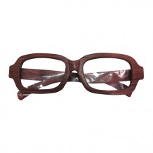木制眼镜(深啡长方形白色镜片)