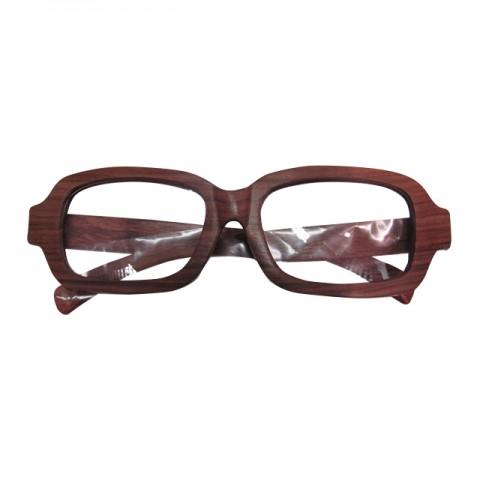 木制眼鏡(深啡長方形白色鏡片)