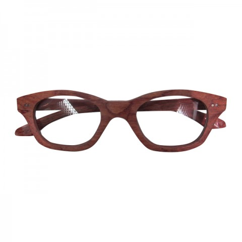 木制眼鏡(深啡白色鏡片每邊有兩點銀)