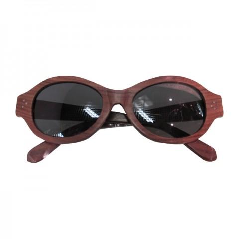 木制眼鏡(深啡蛋形黑色鏡片)