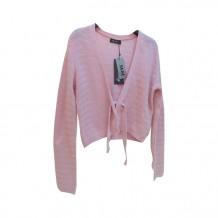 粉红绑带罩衫