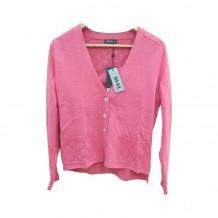 粉背花纹长袖罩衫