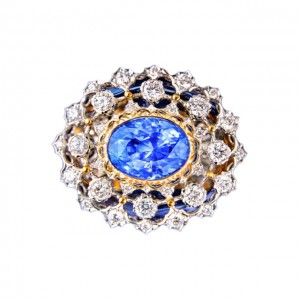 18KWG/YG Sapphire(UH)& Diamonds Ring