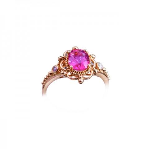 18K玫瑰金 粉紅藍寶石,鑽石戒指