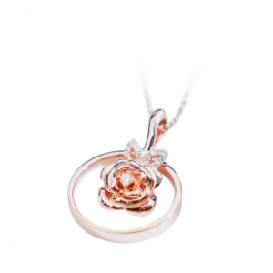 18K黃金 (玫瑰花)鑽石頸鏈