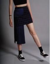 Plaid Asymmetric Skirt