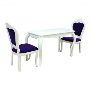 二人白色餐枱連紫色椅