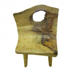 單人座原木靠背凳