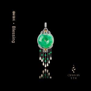 Blessing Series – Untarnished green jadeite designer peace buckle