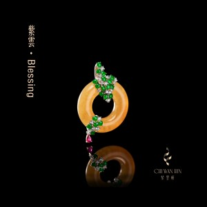 Blessing Series – Yellow jadeite designer peace buckle