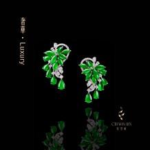 奢華系列·滿綠翡翠耳環