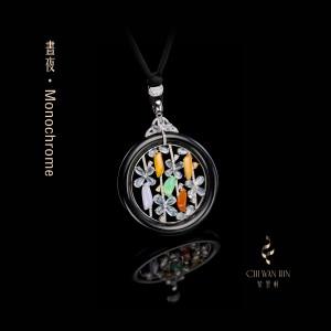 Monochrome Series – Jadeite designer peace buckle pendant