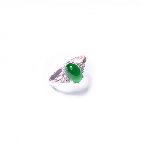 Jadeite Series-Natural Burma Jadeite Diamonds Ring