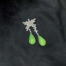 Jadeite Series-Natural Burma Jadeite Diamond Earrings