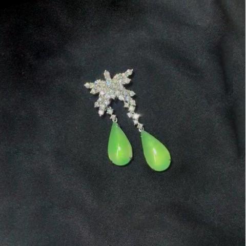 Série Jadeíte - Brincos de Diamante e Jadeíte Naturais