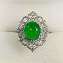 翡翠系列-天然翡翠鑽石戒指-歐式古典之東西融和