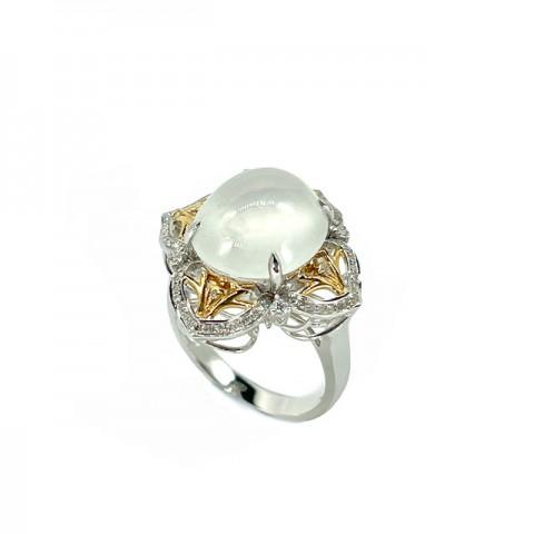 翡翠系列-天然翡翠钻石戒指-花园锦簇之晶莹剔透