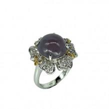 翡翠系列-天然翡翠鑽石戒指-花園錦簇之溫柔粉春
