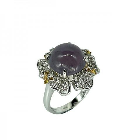 翡翠系列-天然翡翠钻石戒指-花园锦簇之温柔粉春
