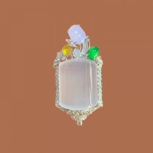 Jadeite Series-Natural Burma Jadeite Diamonds Pendant