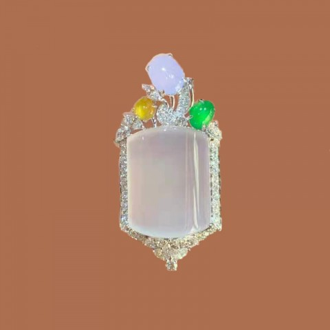 翡翠系列-天然翡翠鑽石吊墜-花園錦簇之百花待放