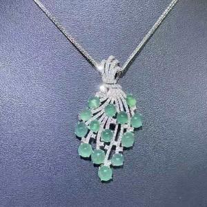 Jadeite Series-Natural Burma Jadeite Diamonds Brooch Or Pendant