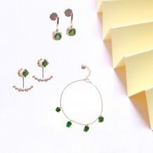 其它系列-綠柱石鑽石耳環