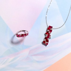 Spinel Series- Spinel Diamonds Ring & Spinel Diamonds Necklace