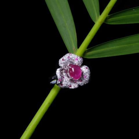 Ruby Series- Ruby Diamonds Ring (All Natural Burma Ruby-No Treatment)