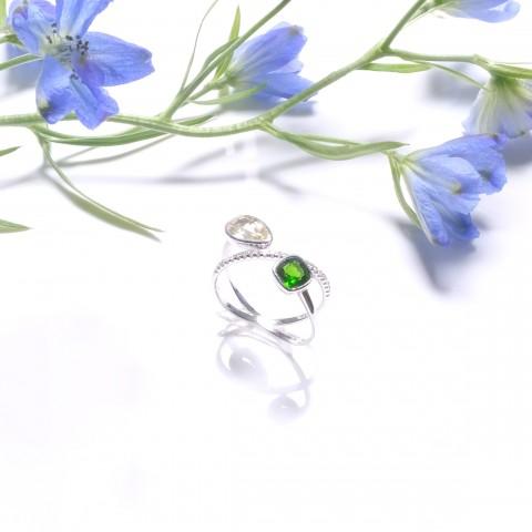 其它系列-黄宝石&绿柱石钻石戒指-自我型格之合拍同行(全天然缅甸宝石-无烧)