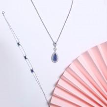 蓝宝石系列-蓝宝石钻石手链-自我型格之低调同行(全天然缅甸宝石-无烧)