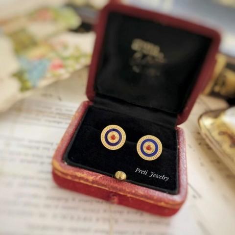 Byzantine - Ouro de 18 quilates, ónix vermelho, lapis lazuli