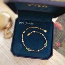 Simonetta - 18K gold, enamel, pearl