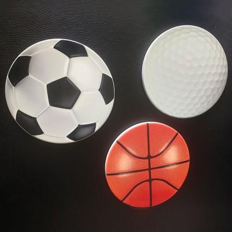 Base cerâmica para copo em formato de bola de basquetebol , base cerâmica para copo em formato de bola de futebol, base cerâmica para copo em formato de bola de golfe