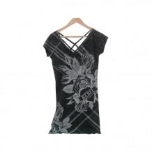 Gray Flower Pattern Long Black T-shirt