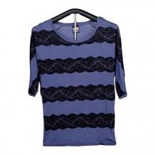 T-shirt de Malha de Senhora de Manga Curta (Azul com Renda)