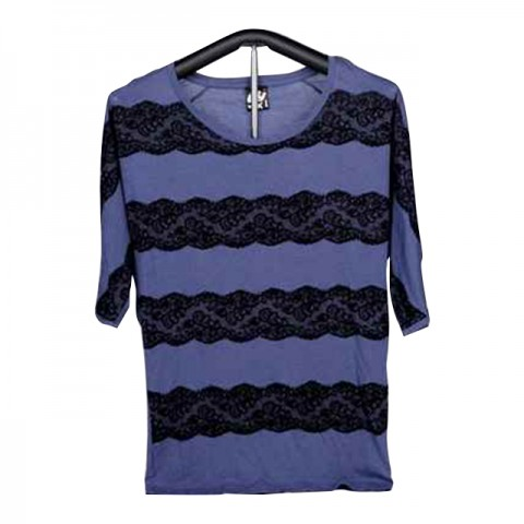Ladies Knitted Short Sleeve T-Shirt (Blue with Lace)