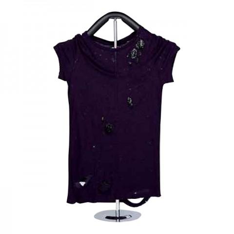 女裝棉織短袖 T-恤 (紫色)