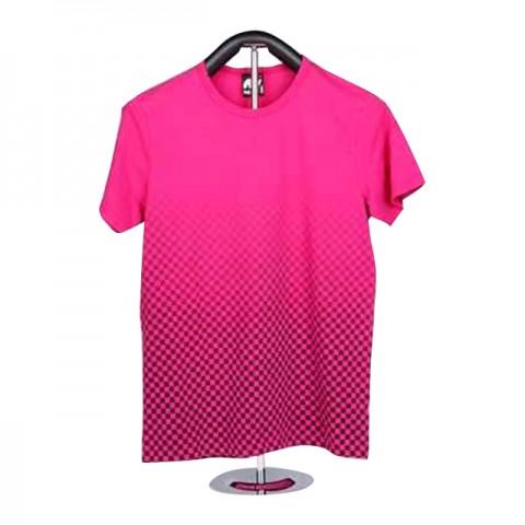 女裝棉織印花短袖 T-恤 (粉紅格格)