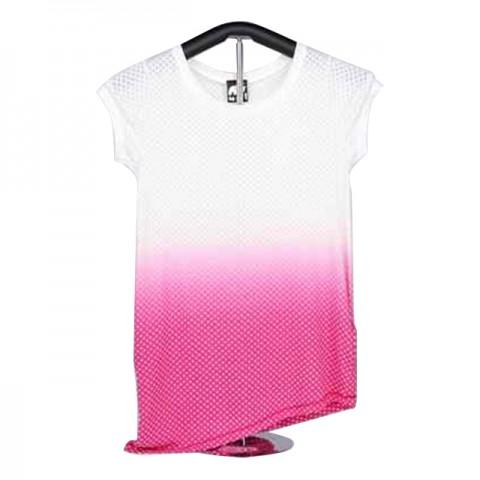 女裝棉織短袖 T-恤 (粉紅白星星)