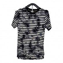 Ladies Knitted Short Sleeve T-shirt (Black and White Stripe)