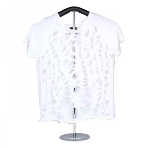 Ladies Knitted Short Sleeve T-Shirt (White)